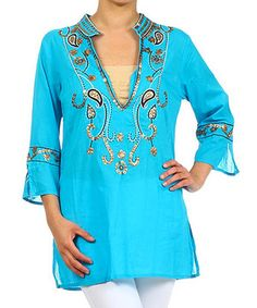 Loving this Karen T. Design Turquoise Beaded Notch Neck Tunic on #zulily! #zulilyfinds