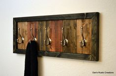 Modern Rustic Wood Multiple Color Towel Hat Coat Rack Five Brushed Nickel Hooks on Wanelo Modern Rustic, Rustic Wood, Modern Decor, Diy Wood Projects, Wood Crafts, Rustic Coat Hooks, Indoor Crafts, Folding Furniture, Into The Woods