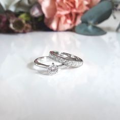 Cathedral solitaire combined with a half eternity band white gold Classic Collection, Eternity Bands, Cathedral, Silver Rings, White Gold, Wedding Rings, Engagement Rings, Jewellery, Enagement Rings