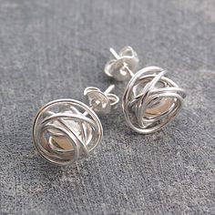 Silver Caged White Pearl Stud Earrings