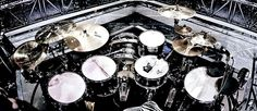 Dominic Howard's drum set up during Muse's The 2nd Law Tour