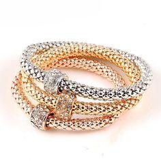 3Piece Gold Color Love Bracelets