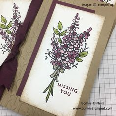 Last month, Stampin' Up! updated it's clearance rack and added the Crumb Cake Note Cards at an amazing price. I was fortunate to snag a few for me to create some cards with. First up on the Crumb Cake Note Card, the Sale-a-bration Lots of Lavender Stamp Set.