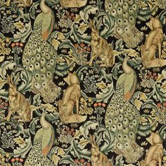 Forest Velvet by William Morris. A tapestry inspired fabric depicting a forest scene with peacocks, hares and foxes set amongst scrolling acanthus leaves. Digitally printed on black with gold, duck egg blue and natural shades of green. William Morris Wallpaper, William Morris Art, Morris Wallpapers, Craftsman Fabric, Craftsman Style, Textiles, Inchies, William Morris Patterns, Art And Craft