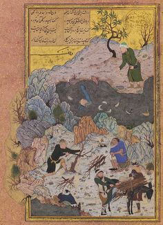 The Drowning Man: Page from a manuscript of the Mantiq al-Tayr (The Language of the Birds) of Farid al-Din cAttar, ca. 1487; Timurid Iran (Herat)