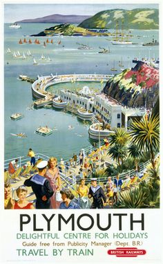 Apart from the Navy boys, this is not what Plymouth looks like! Haha... Anyway. I'm taking the train there next week. (British Railways, Plymouth, Devon poster.)