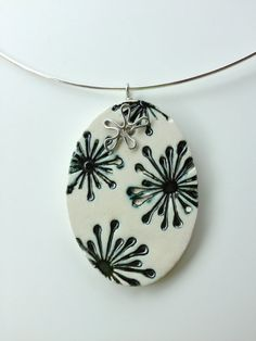 Ceramic Jewelry  pewter starbursts by kimjustice on Etsy, $20.00