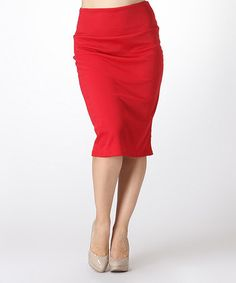Another great find on #zulily! Red Solid Pencil Skirt - Plus #zulilyfinds