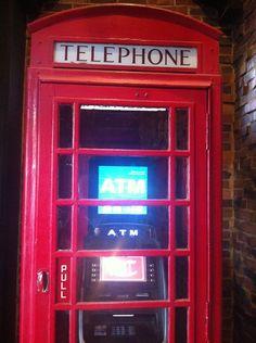 a modern interpretation of an old British phone box, at the Cheshire Inn St Louis