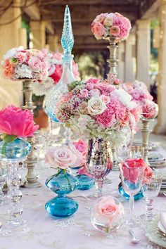 Romantic Pink and Blue Tablescape | Calligraphy by Jennifer