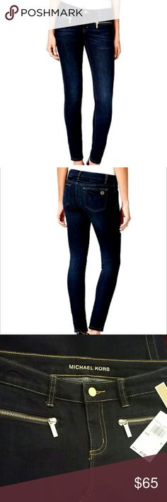 NWT $130 Michael Kors Skinny Jeans Dark Sz 4 NWT $130 Michael Kors skinny jeans.  Dark wash blue denim (NOT black).  Sz 4.  Two front zipper pockets. Waist measures 29-30 in Inseam measures 28 in  Gorgeous jeans in excellent new condition.   Smoke and Pet free environment.  No trades. Michael Kors Jeans