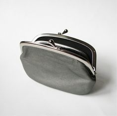 Women's Leather Wallet with Divider Silver Gray