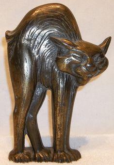 #antique RARE 1927 ANTIQUE A.M. GREENBLATT STUDIOS HALLOWEEN CAT CAST IRON DOORSTOP # 19 please retweet