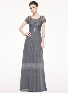 A-Line/Princess Scoop Neck Floor-Length Chiffon Lace Mother of the Bride Dress With Ruffle Beading Sequins (008062532) - JJsHouse