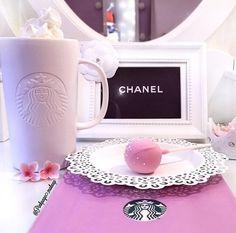 Imagem de starbucks, chanel, and pink