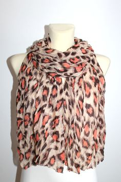 Printed Leopard Scarf - Brown Leopard Scarf - Animal Print Scarf - Women Fashion Accessories - Gift Idea for Her - Spring Autumn Winter