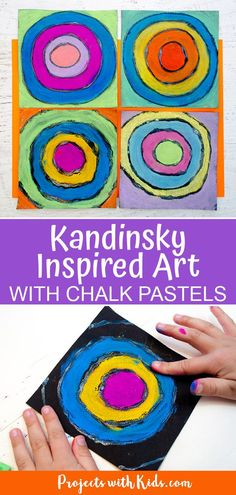 Chalk Pastel Kandinsky Inspired Art Learn about the famous artist Wassily Kandinsky and create this gorgeous pastel art inspired by him! Kids of all ages will love using chalk pastels and glue to make this fun and colorful art project. Kandinsky For Kids, Kandinsky Art, Chalk Pastel Art, Chalk Pastels, Chalk Art, Primary School Art, Elementary Art, Art Lessons For Kids, Art For Kids