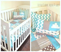 aqua cloud crib quilt set by Alphabet Monkey www.alphabetmonkey.etsy.com