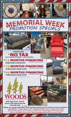 Monday is the last day to use our special 48 Months Same As Cash Financing Offer (OAC) or Save with NO Tax!   Promotions will apply to custom special orders as well!  Now is the time to buy, hope to see everyone tomorrow:)  - www.WoodsFurniture.com