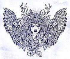 Buy Demonic Winged Angel Magic Woman with Deer by itskatjas on GraphicRiver. Demonic winged angel magic woman with deer antlerss and long hair. Alchemy, tattoo art, t-shirt design, adult colorin. Tribal Tattoos, Tattoos Skull, Sleeve Tattoos, Cool Chest Tattoos, Small Tattoos, Small Angel Wings, Goddess Tattoo, Antler Art, Lion Design