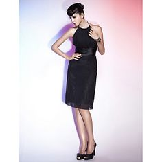 Sheath/ Column Halter Knee-length Chiffon Cocktail Dress – CAD $ 99.28