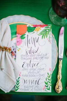 colorful paper goods, photo by Best Photography http://ruffledblog.com/florida-spring-wedding-ideas #menu #weddingideas #papergoods