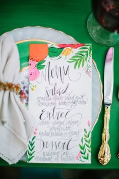 colorful paper goods, photo by Best Photography http://ruffledblog.com/florida-spring-wedding-ideas #menu #weddingideas #papergoods