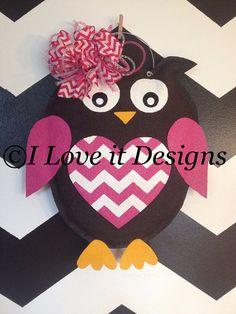 Valentine's Owl Burlap Door Hanger