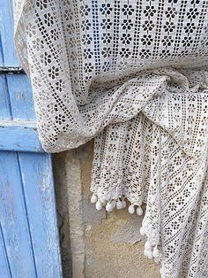 1900/1930 French crochet curtain white cotton with tassels/ art deco | eBay