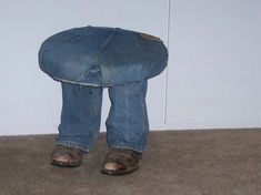 Givin' the stool the BOOT! - JUNKMARKET Style..made with old boots, old jeans, 2x4's inserted in pant legs & boots also nailed to 2x4, attached to round wood circle..added padding and I made a fun seat! Really funny when someone sits on it and you see 4 feet!!! Jan B.