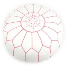 Moroccan pouffe - white with pink stitching - Mykela Rose - Morrocan Pouffe Specialists
