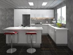 Gloss White Vinyl Large L shape + Island Bar Kitchen $1831 - Greys Online