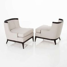 Pair of Erwin Lambeth for Tomlinson Sculptural Chairs 2 Classic Furniture, Furniture Styles, Furniture Decor, Furniture Design, Slipper Chairs, Single Sofa, Soft Seating, Upholstered Furniture, Sofa Chair