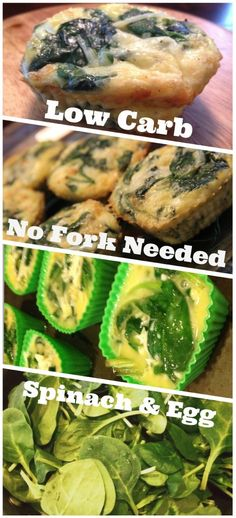 Low Carb Spinach and Eggs Muffin - Modify this with less cheese = each. Low Carb Recipes, Real Food Recipes, Diet Recipes, Vegetarian Recipes, Cooking Recipes, Healthy Recipes, Recipies, Easy Cooking, Healthy Cooking