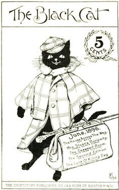 The adorable cover of the June 1896 cover of Black Cat magazine.
