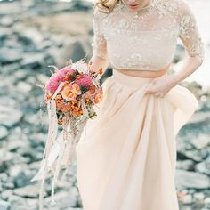 These gorgeous two-piece wedding dresses are SO swoonworthy... perfect for the unique bride! Photo by 2 Brides Photography.
