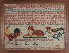 Sampler (verse, alphabet & motifs), made in Wales, 1884