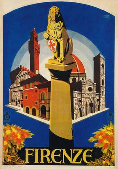 Vintage 1926 Firenze Florence Italy Travel Poster