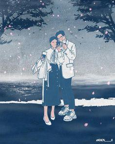 달을 찾는 마음으로, 혹은 별을 찾는 마음으로 그렇게 나는 당신을 사랑하고 있어요. 하늘을 올려다보면 매일 밤 떠 있는 달과 별이지만 그 감동은 결국 찾는 이에게 있으니까요. 매일 찾아요 나는, 당신을. - I'm loving you. I feel… Cute Couple Art, Cute Couples, Hijab Drawing, Cartoons Love, Couple Illustration, Couple Drawings, Korean Artist, Anime Love, Love Art