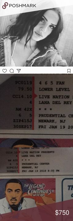2 Lana Del Rey Tickets, and Hotel Room Jan 19th 2 tickets to the January 19th show at the Prudential Center in New Jersey , section 4, plus hotel reservations 3 minutes away double bed, mini bar , WiFi Lana Del Rey Other