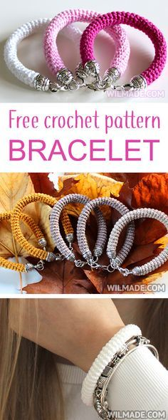 Here you can find a free crochet pattern to make a beautiful crochet bracelet. It's very easy and fast to make. Also perfect to make as a gift for friends and family. Crochet Stitches, Crochet Patterns, Bijoux Diy, Bead Crochet, Crochet Necklace Pattern, Crochet Rope, Crochet Gifts, Jewelry Patterns, Bracelet Patterns