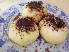 Czech fruit dumplings recipe In response to this post. I've got a few people asking me for a recipe so here it is. Dumpling Recipe, Dumplings, Bacon Muffins, Czech Recipes, Breakfast Dessert, World Recipes, Desert Recipes, Baking Recipes, Good Food