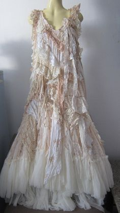 """RESERVED..she has stories to tell...vintage inspired shabby bohemian gypsy dress ...36"""" to 44"""" bust. $175.00, via Etsy."""