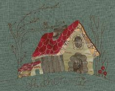 "CASITAS by Eva Gustems. There are a number of different styles and I love them all and they can be purchased as a kit or just the pattern. The series is done in ""El Color de la Selva"" translated as Colours of the Forest. Applique Templates, Applique Patterns, Applique Quilts, Quilt Patterns, House Quilt Block, Quilt Blocks, Patchwork Log Cabin, Quilting Projects, Sewing Projects"