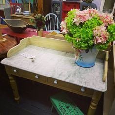 Antique Pine Wash Stand with marble top £245