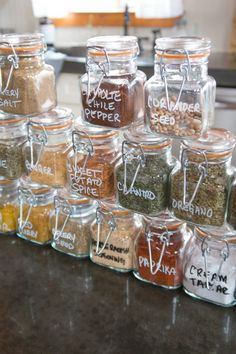 Herb and Spice Organization , Pantry Organization, Glass Container Storage, Food Storage Containers, Airtight Glass Container Diy Storage Bench, Diy Kitchen Storage, Pantry Storage, Storage Ideas, Spice Storage Containers, Glass Containers, Baking Cupboard, Spice Organization, Organizing