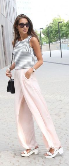 #summer #fashion / stripes + pastel pink