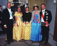 King Harald V and Queen Sonja of Norway with Crown Princess Victoria, Queen Silvia, and King Carl XVI Gustaf of Sweden during the Norwegian State Visit to Sweden in May 1992.