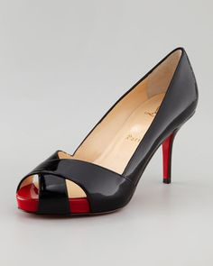 Christian Louboutin - Shelley Peep-Toe Pump, Black/Red - Basics don't have to bore. Christian Louboutin equips this wardrobe-workhorse pump with a sleek, stable kitten heel. From boardroom to brunch, there's no outfit Christian Louboutin pumps can't handle—and no obstacle you can't surmount while wearing them.