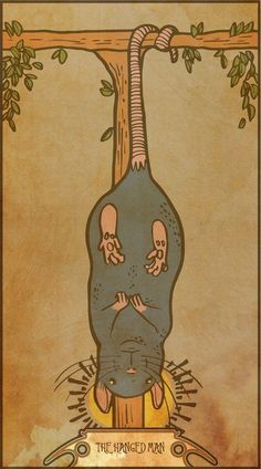 Muroidea Rat Tarot- The Hanged Man Art Print